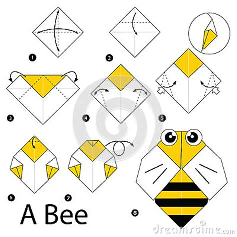 How To Make A Paper Bee - step by step how to make origami a bee stock
