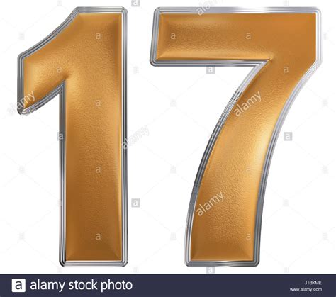 numeral 17 seventeen isolated on white background 3d
