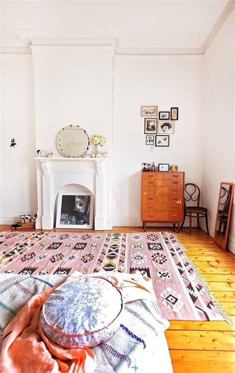 pink rugs for bedroom a bedroom with a soft pink kilim rug the style files