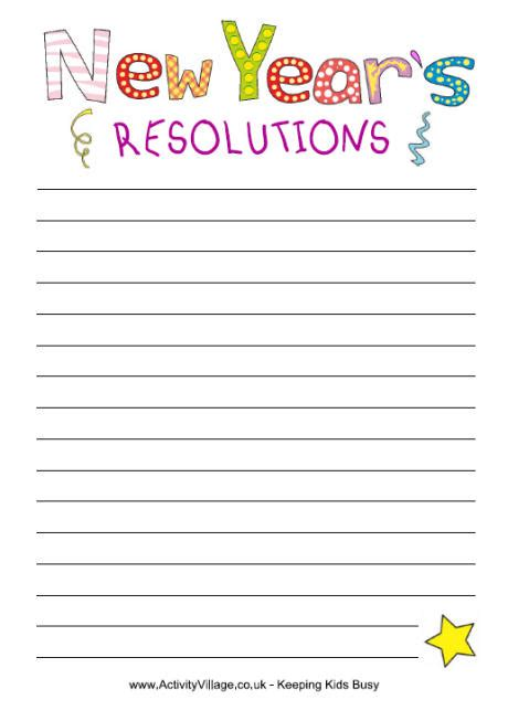 new year resolutions printable kid free new year resolutions paper for to print