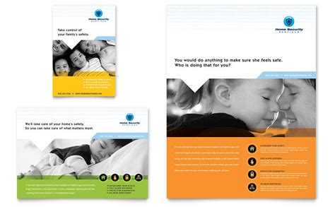 leaflet design for cctv home security systems flyer ad word template
