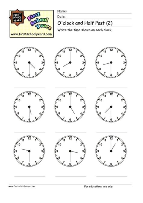 clock worksheets o clock and half past time worksheets 187 telling time worksheets oclock and half