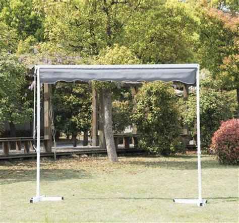 freestanding awning 9 8 freestanding patio awning grey aosom ca
