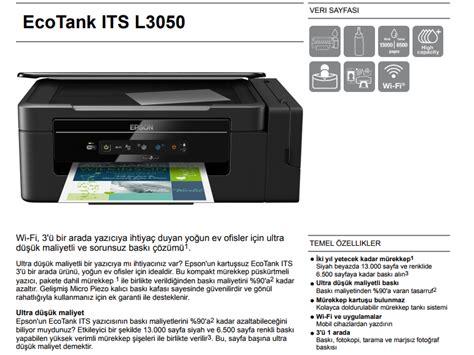 Printer Epson Fotokopi epson l3050 taray箟c箟 fotokopi wi fi m 252 rekkep tankl箟 fiyat箟