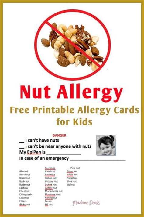 printable allergy poster nut allergies to be allergies and kid