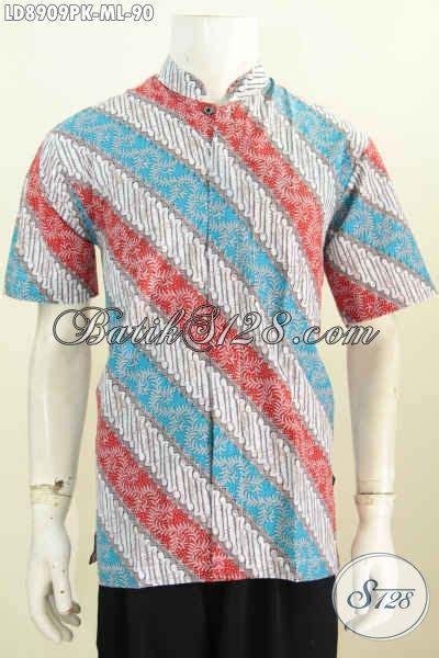 Koko Merah Size M batik hem koko klasik dengan kombinasi warna merah biru