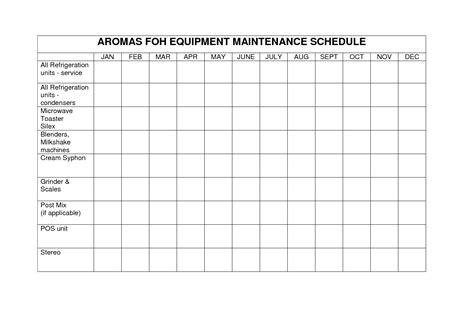 maintenance schedule template equipment maintenance schedule template