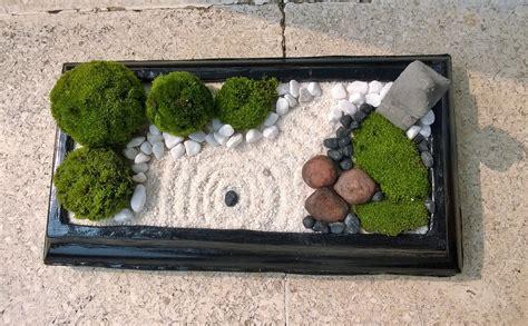 Mini Zen Garden With Nature Moss Ball White Sand Black Mini Zen Rock Garden