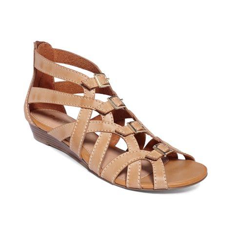 brown wedge sandals report annalise buckle wedge sandals in brown lyst