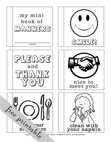 printable manners worksheets for preschoolers a year of fhe check out this cute mini book for kids to