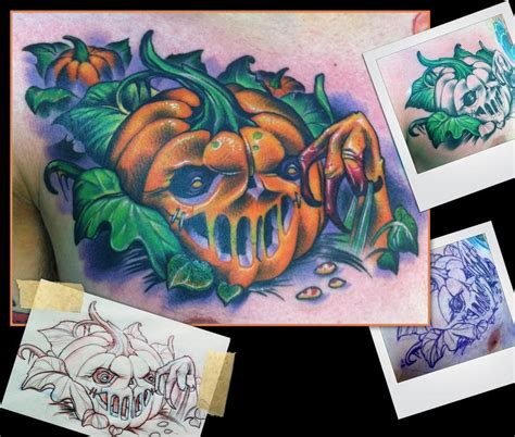 new school pumpkin tattoo large image leave comment