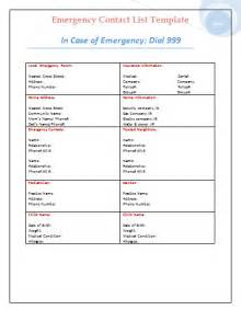 Emergency Contacts Template by Emergency Contact List Template Microsoft Office Templates