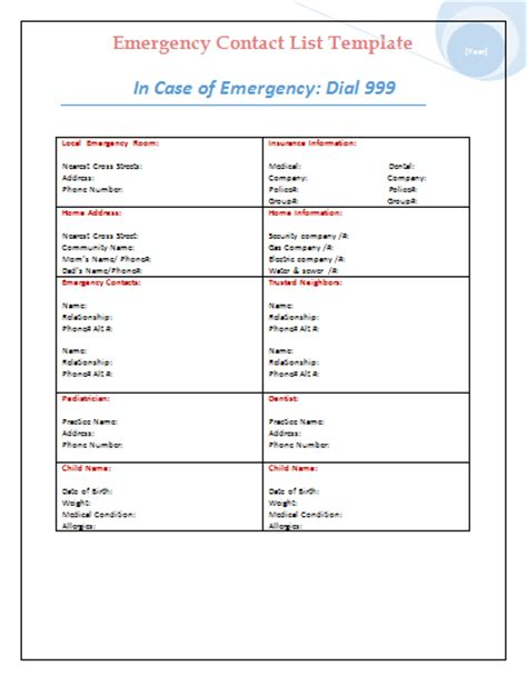 emergency contact template emergency contact list template microsoft office