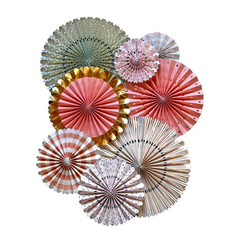 How To Make Paper Windmill Fans - set of 8 coral and mint paper pinwheel fans gold pinwheel