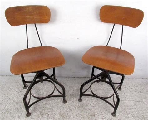 Draftsman Stool With Back by Pair Of Draftsman Swivel Stools By Toledo For Sale At 1stdibs
