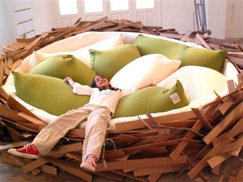 worlds largest couch giant bird s nest bed