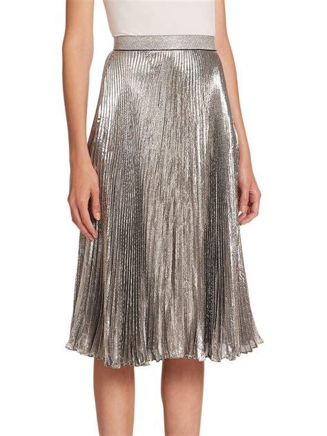 christopher pleated midi skirt in metallic lyst