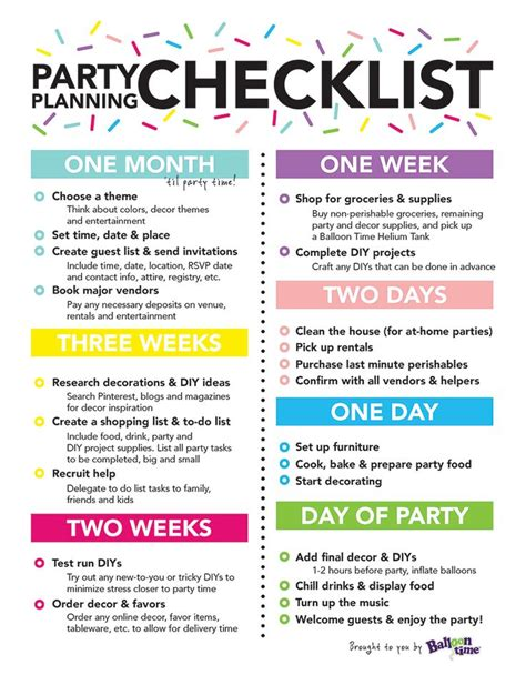 planning checklist balloon time planning