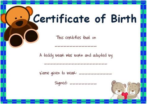 teddy birth certificate template adoption certificate template 13 free word