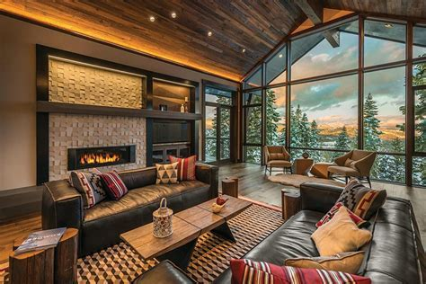 aspen ski lodge living room rustic with area rugs