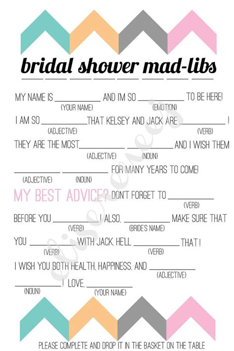 Printable Wedding Shower Mad Libs | free bachelorette party mad libs printable bridal shower