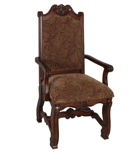Neo Renaissance Traditional Formal Dining Upholstered Arm Dining Arm Chairs Upholstered