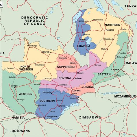zambia political map vector eps maps eps illustrator map