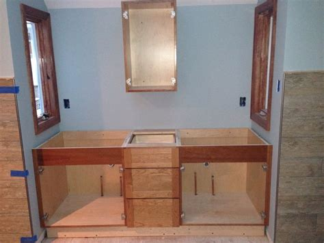 craftsman style vanity in progress bathroom design