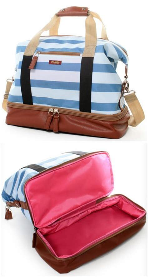weekender bag with shoe compartment midway weekender bag in sky stripes michael kors