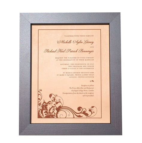 leather photo engraved wedding invitation