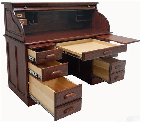 54 1 2 Quot W Deluxe Solid Oak Roll Top Desk W Laptop Clearance Roll Top Office Desk