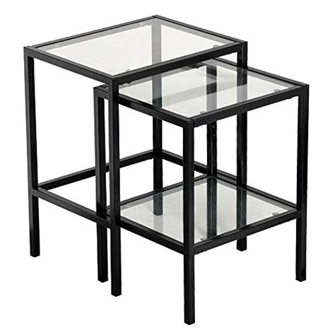 nesting end tables living room yaheetech set of 2pcs glass nesting tables living room sofa side end table set black frame