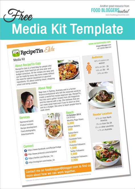 Media Kit Template by Media Kit Template Free Food Central