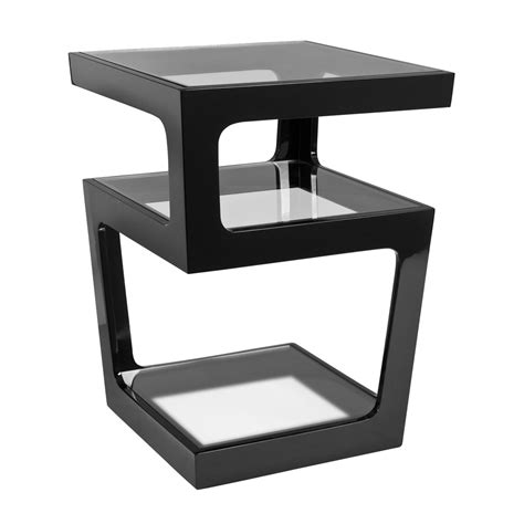 Triple Level Gloss Side Table Black Dwell