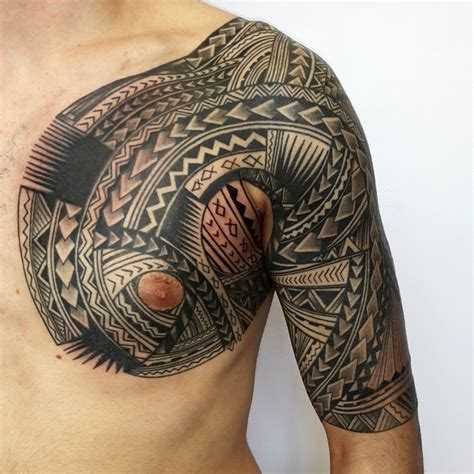 half chest tribal tattoo 31 designs