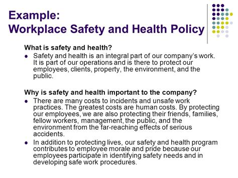 sle health and safety policy hazard communication