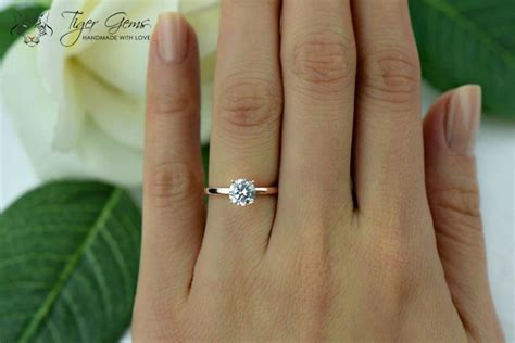 Verlobungsring 1 Karat by 1 Carat 4 Prong Engagement Ring Solitaire Ring
