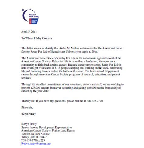 Relay For Community Service Letter Andre S Community Service Hours