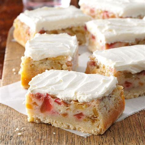 best rhubarb recipes rhubarb custard bars recipe taste of home