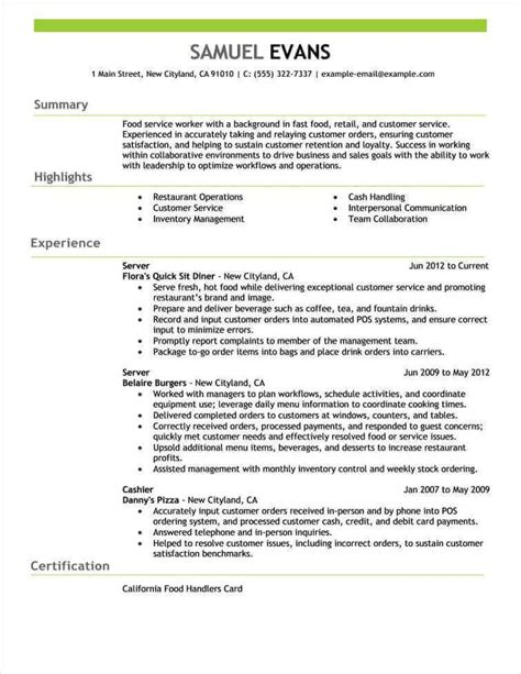 fast food sle resume free resume exles by industry title livecareer