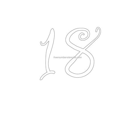 number 18 template free curly 18 number stencil freenumberstencils