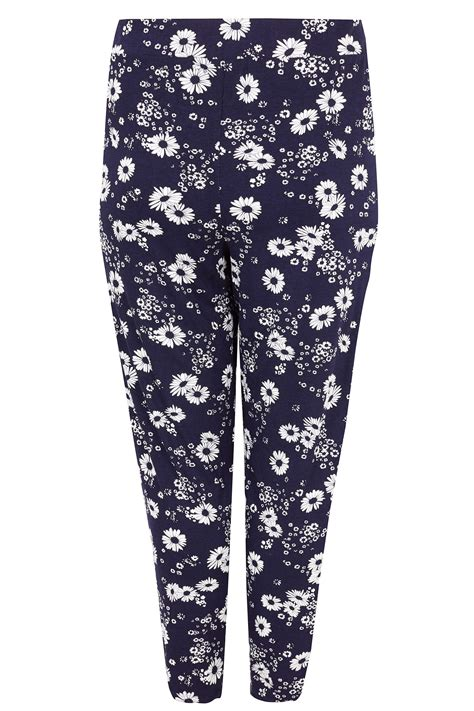 Text Decoration Italic by Navy Floral Print Jersey Harem Trousers Plus Size 16 To 36