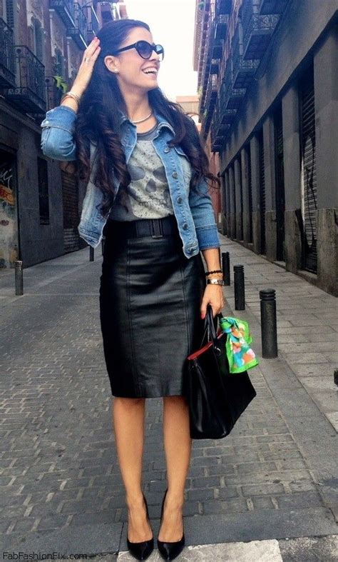 style how fashion wear leather skirt this