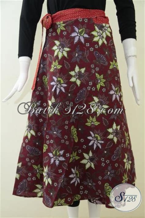 Dress Batik Merah Marun rok batik cantik warna merah marun trendy dan fashionable