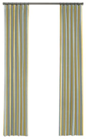 Teal And Yellow Curtains Teal And Yellow Stripe Curtain Single Panel Ring Top Contemporary Curtains By Loom Decor