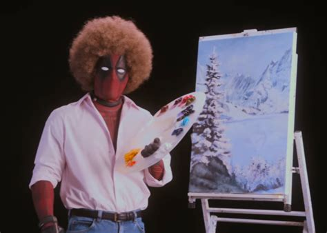 bob ross painting deadpool deadpool goes bob ross in happy deadpool 2