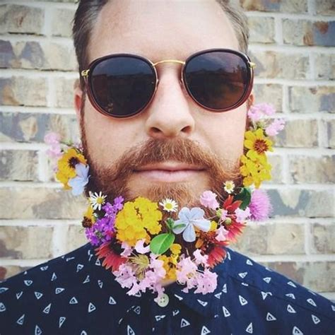 in pics men with flowers in their beards stuff co nz the hipster flower beard trend the pop culture rainman