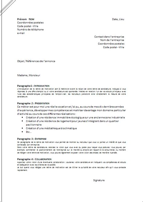 Présentation Lettre De Motivation Type Presentation Lettre De Motivation Employment Application
