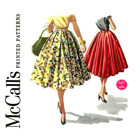 1950s pleated circle skirt pattern waist 24 mccalls 3511