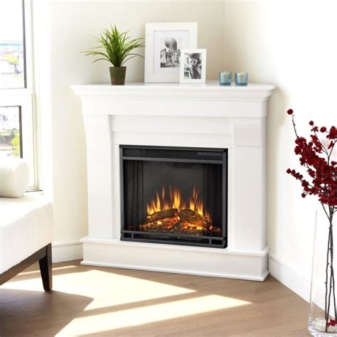 real chateau electric corner fireplace in white